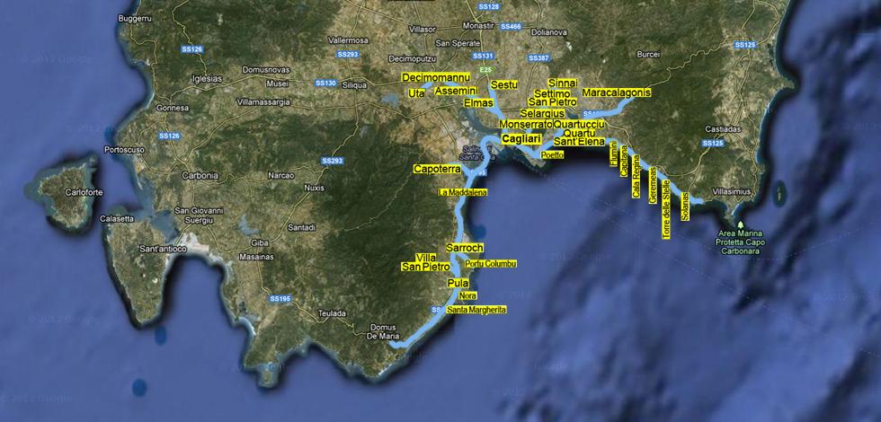 Mappa Sardegna Zona Cagliari.Citta Metropolitana Di Cagliari