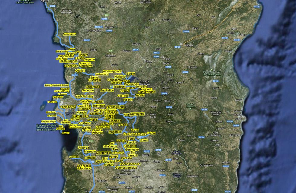Cartina Sardegna Uras.La Provincia Di Oristano