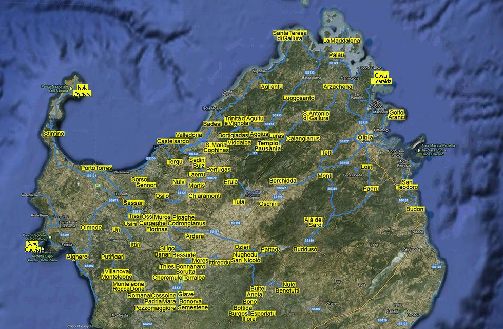Cartina Sardegna Golfo Aranci.Provincia Di Sassari
