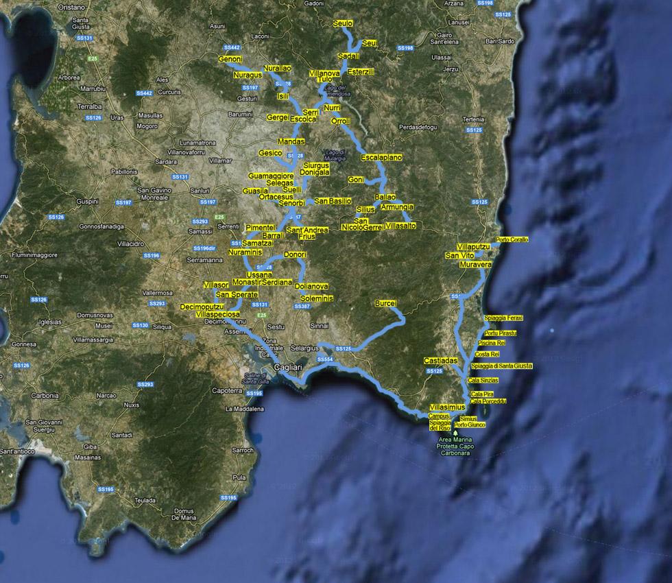Mappa Sardegna Zona Cagliari.Provincia Di Cagliari