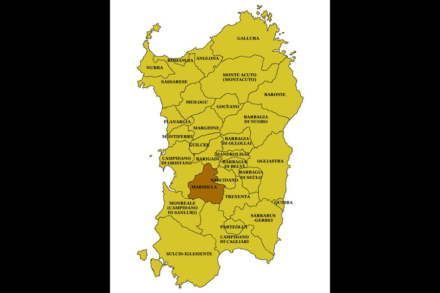 Cartina Sardegna Villamar.Senis Nureci Laconi Assolo Albagiara Gonnosno Usellus Sini Baradili Baressa