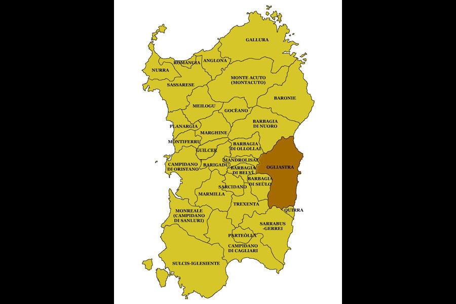 Cartina Sardegna Jerzu.Perdasdefogu