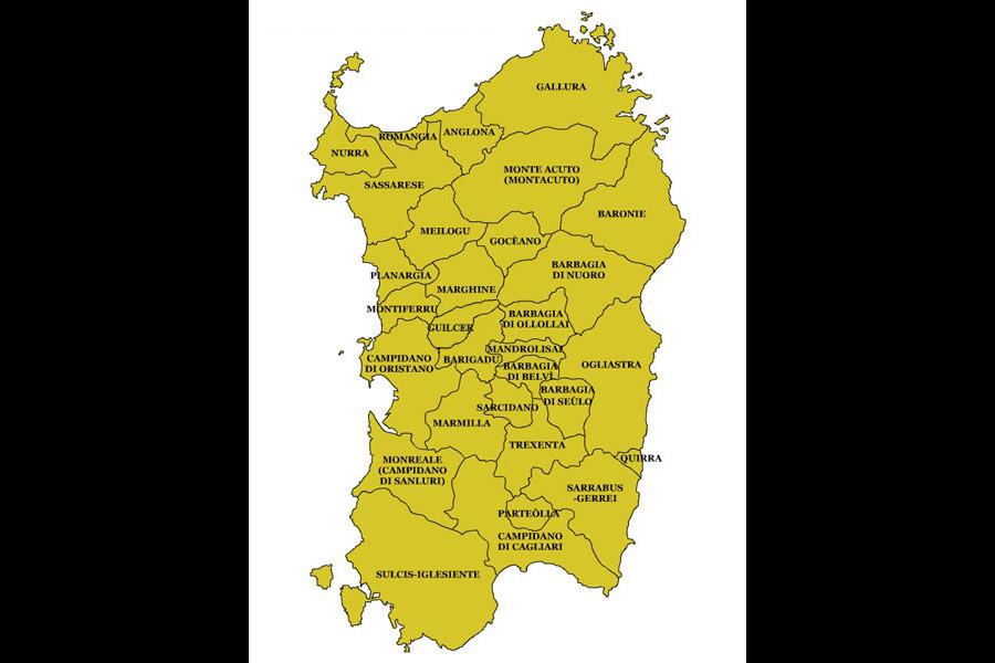 Cartina Sardegna Grande.Sardegna Regioni Storiche